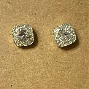 "💥4/$10💥 Square 1/4"" rhinestone stud earrings"